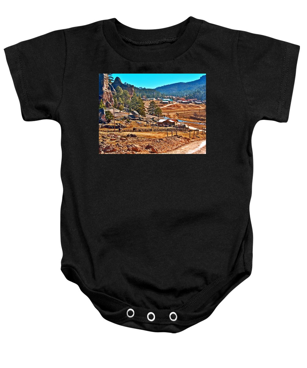 Mission Cusarare Tarahumara Village In Chihuahua Baby Onesie featuring the photograph Mission Cusarare Tarahumara Village In Chihuahua-mexico by Ruth Hager
