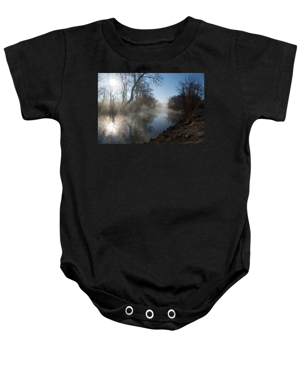 James River Baby Onesie featuring the photograph Misty Morning Along James River by Jennifer White