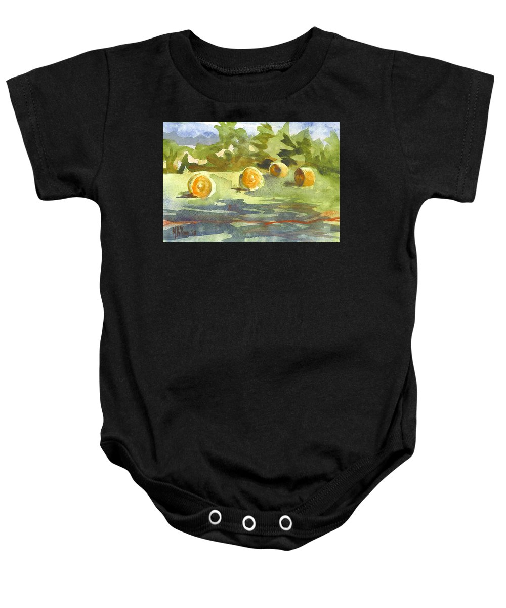 Misty Morning Gold Baby Onesie featuring the painting Misty Morning Gold by Kip DeVore