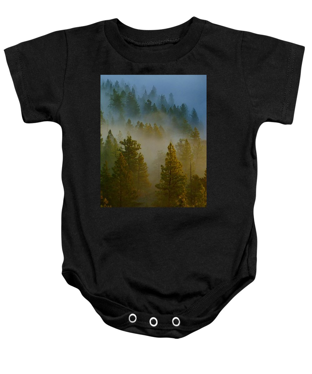 Photo Art Baby Onesie featuring the photograph Misty Morning In The Pines by Ben Upham III