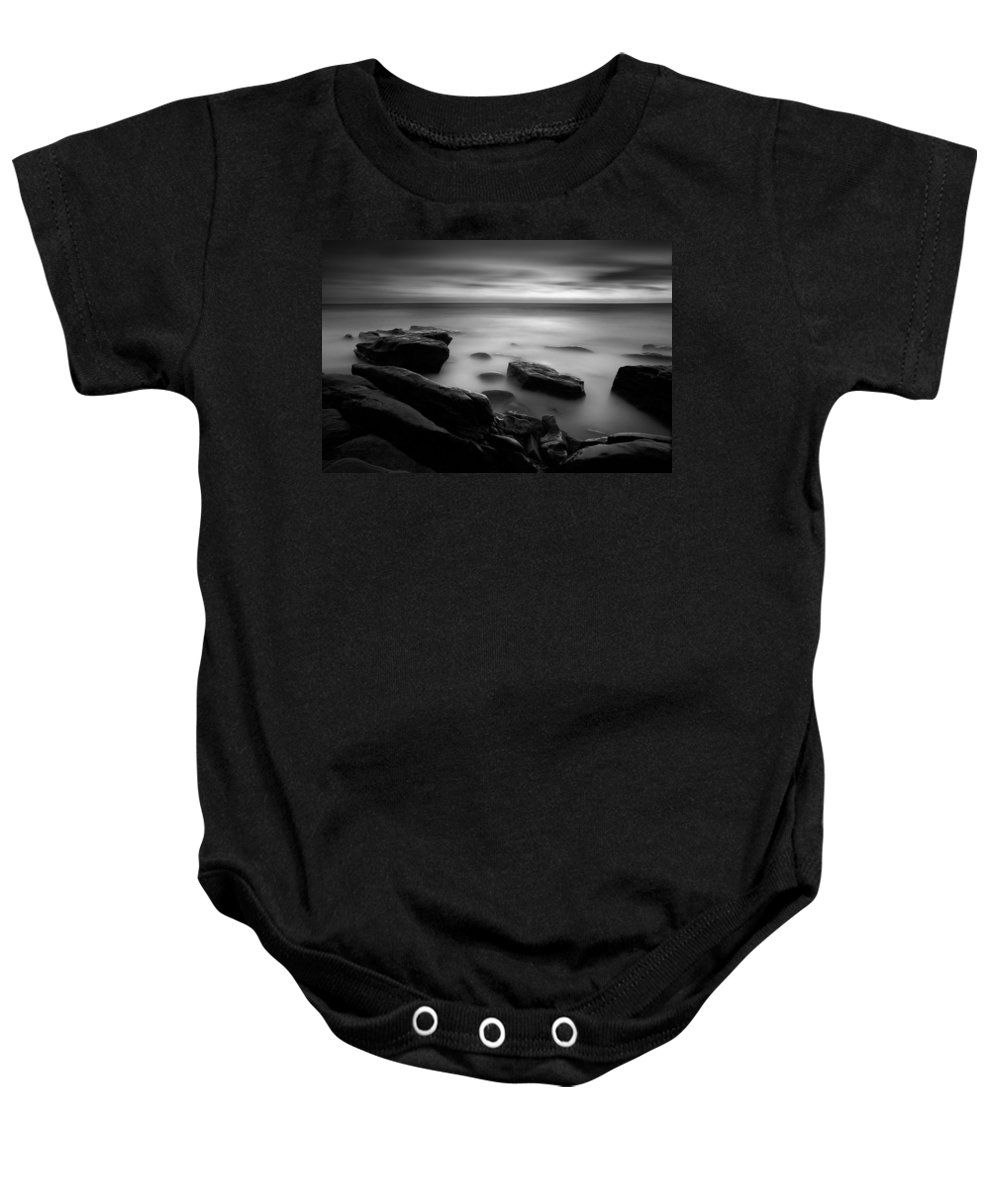 Beach Baby Onesie featuring the photograph Misty Water Black And White by Peter Tellone