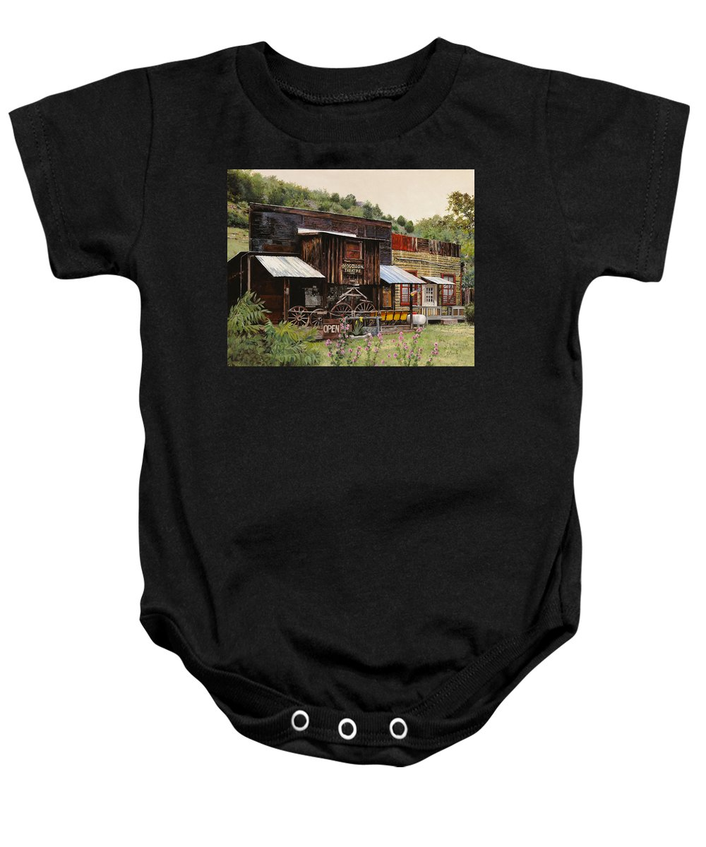 Theatre Baby Onesie featuring the painting Mogollon-theatre-new Mexico by Guido Borelli