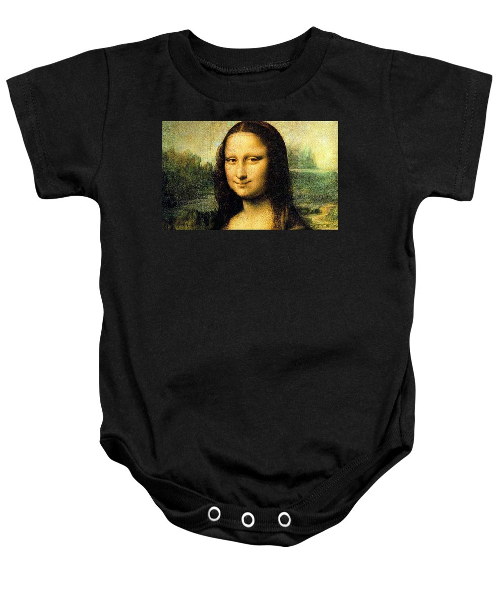 Mona Lisa Baby Onesie featuring the painting Mona Lisa Smiling by Bruce Nutting