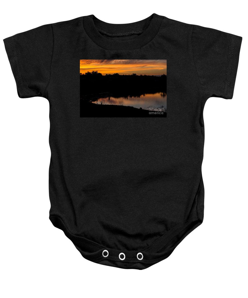 Sunset Baby Onesie featuring the photograph Monika's Sunset by Suzanne Luft