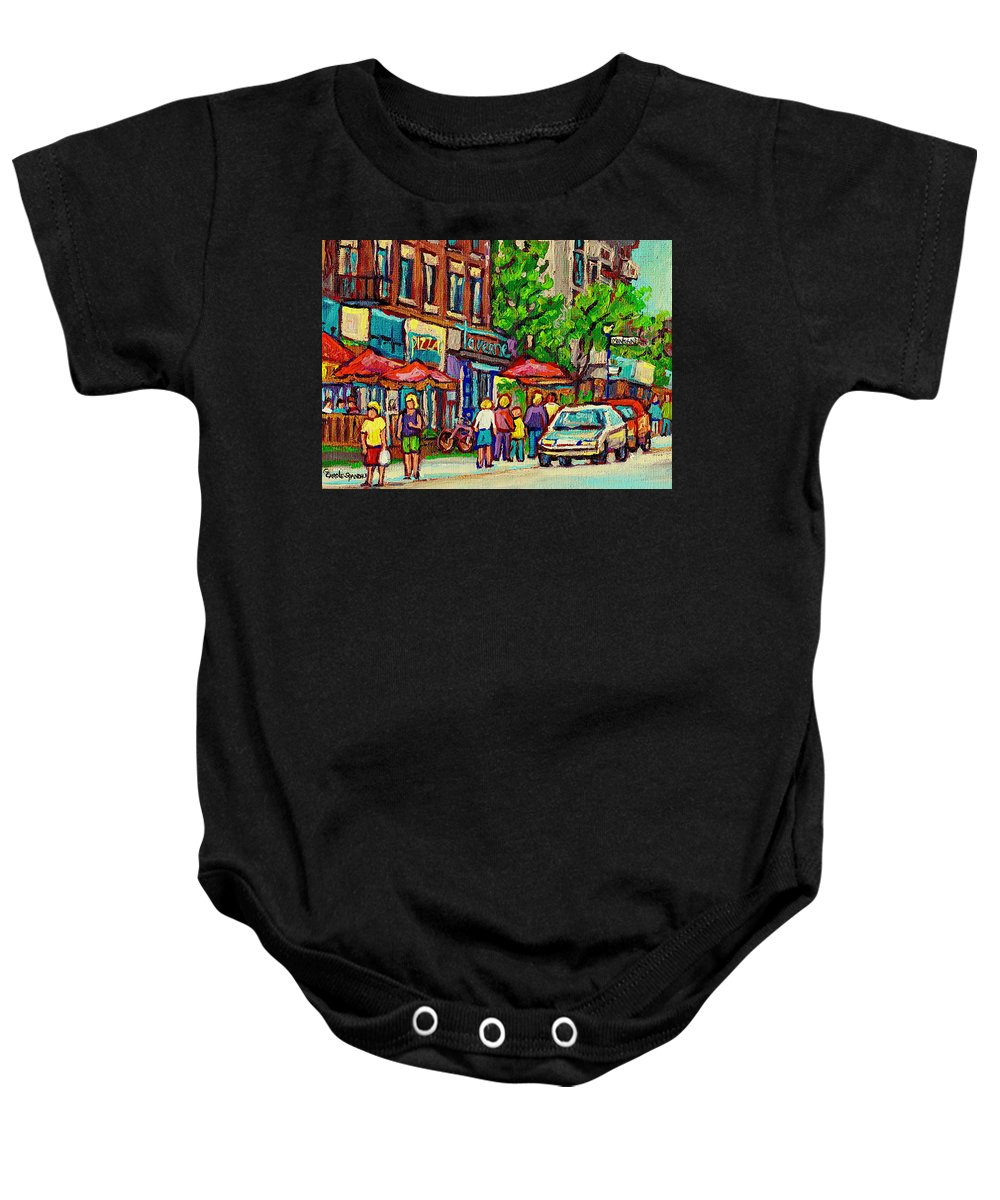 Montreal Baby Onesie featuring the painting Monkland Tavern Corner Old Orchard Montreal Street Scene Painting by Carole Spandau