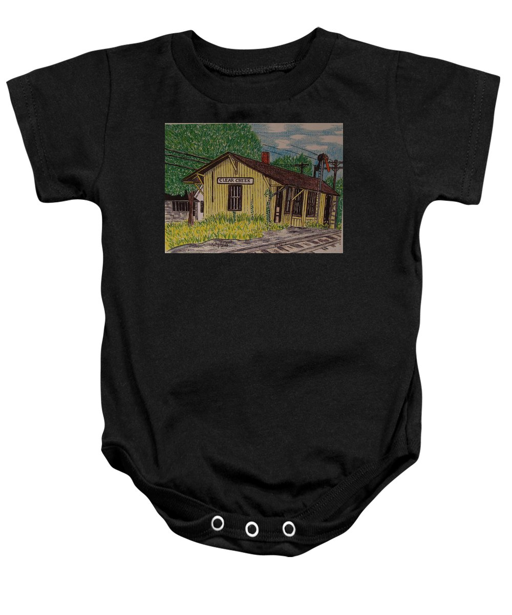 Monon. Monon Train Baby Onesie featuring the painting Monon Clear Creek Indiana Train Depot by Kathy Marrs Chandler