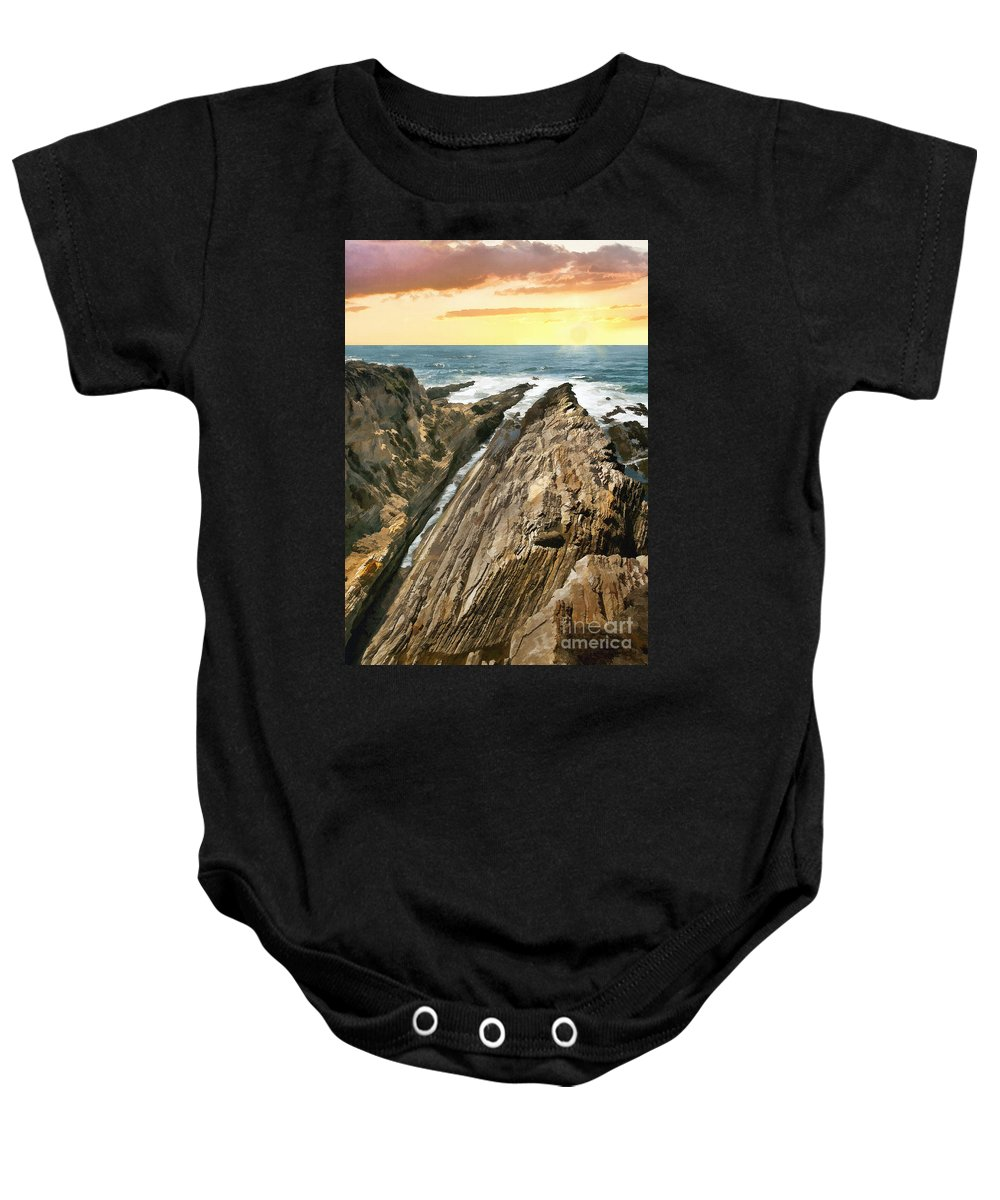 California Baby Onesie featuring the photograph Montana De Oro Shore by Sharon Foster