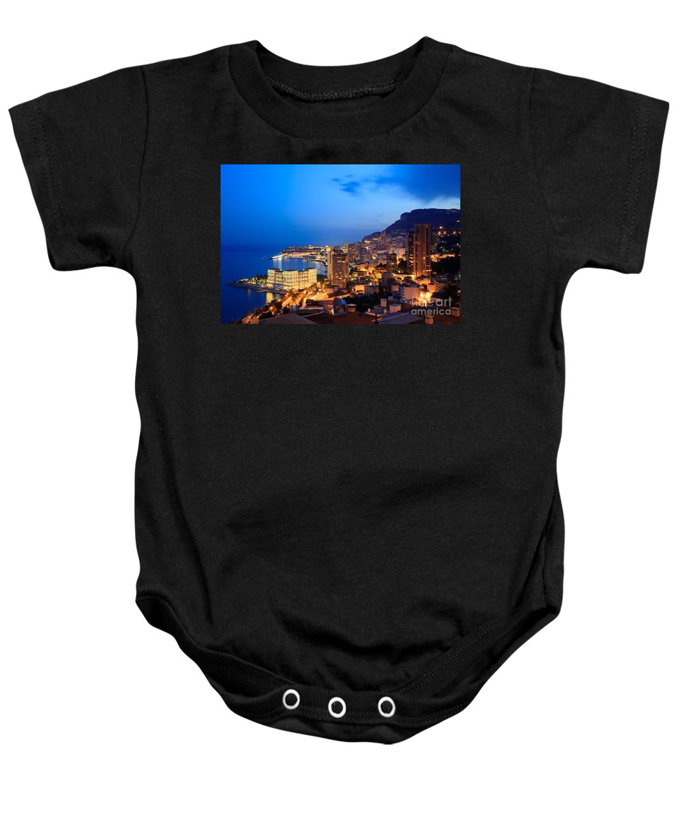 City Baby Onesie featuring the photograph Monte Carlo Cityscape At Night by Matteo Colombo