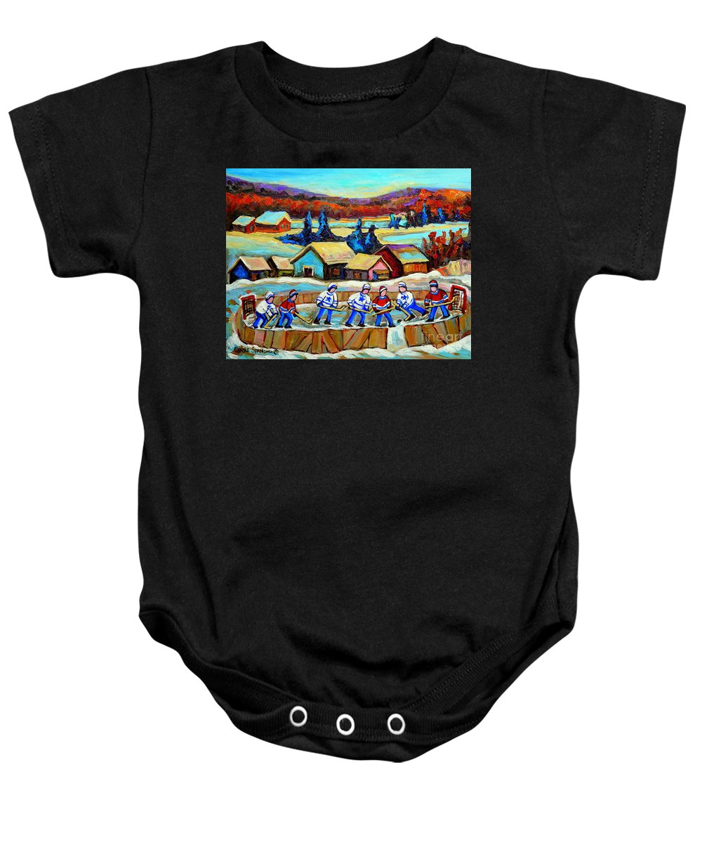 Pond Hockey Baby Onesie featuring the painting Montreal Memories Rink Hockey In The Country Hockey Our National Pastime Carole Spandau Paintings by Carole Spandau