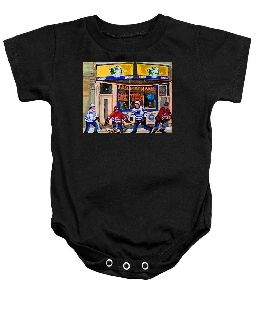 Montreal Baby Onesie featuring the painting Montreal Pool Room City Scene With Hockey by Carole Spandau
