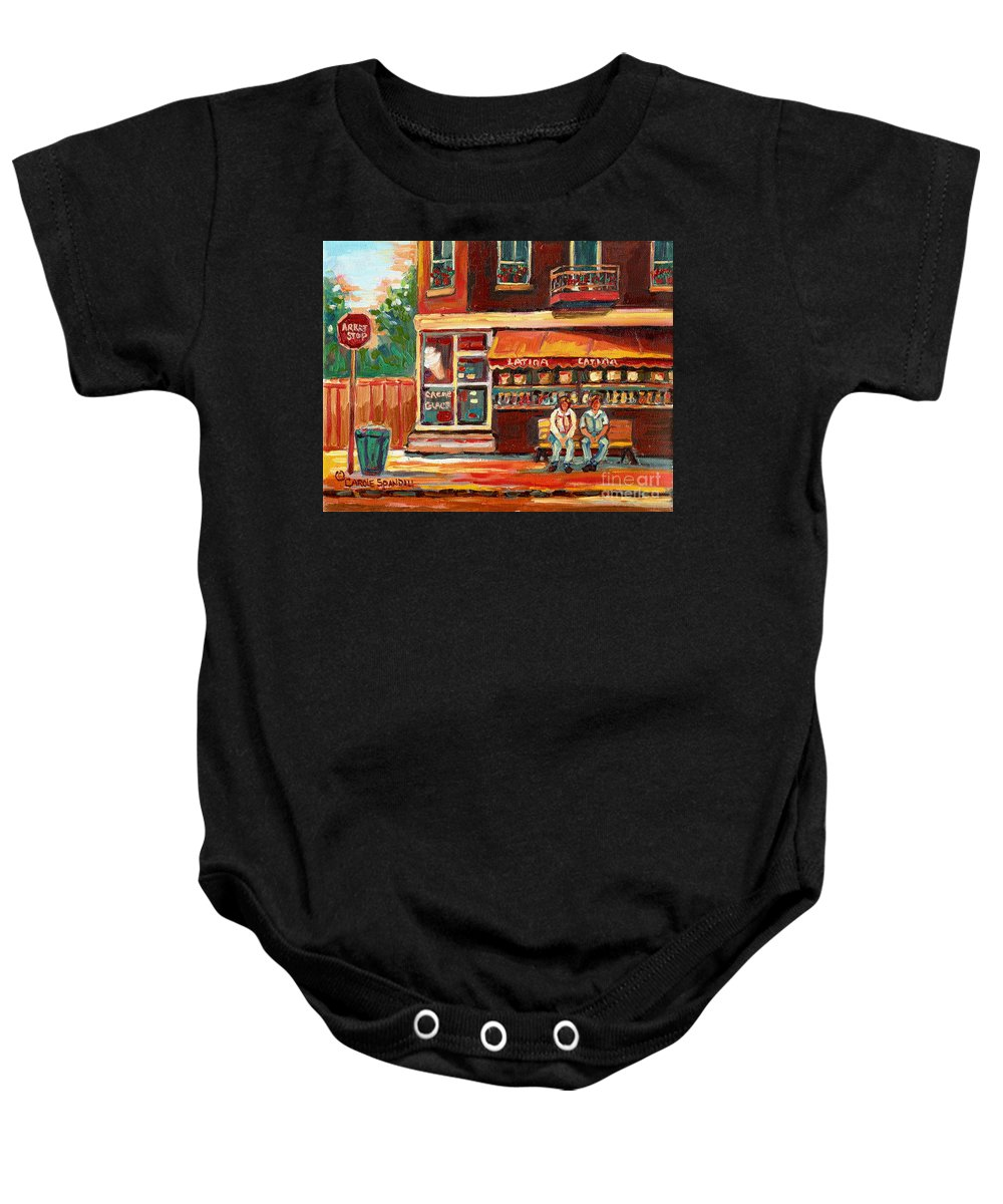 Montreal Baby Onesie featuring the painting Montreal Street Scene Paintings by Carole Spandau