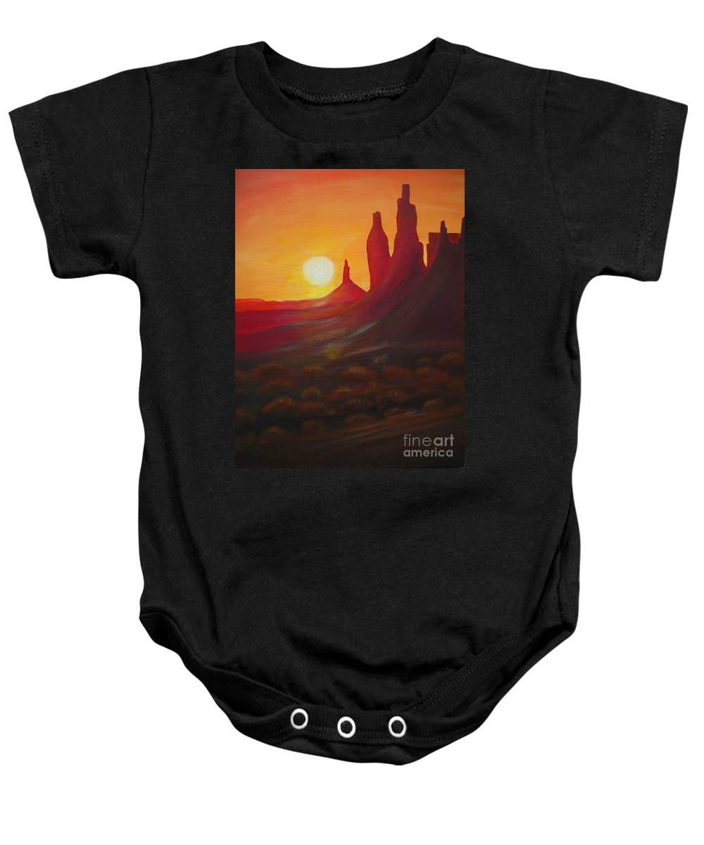 Monument Valley Baby Onesie featuring the painting Monument Valley by Christine Huwer
