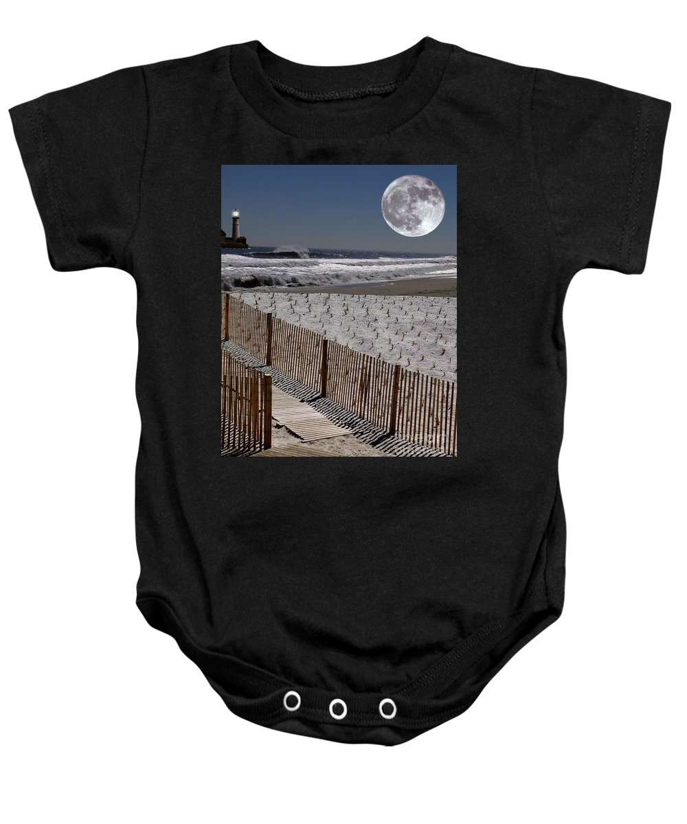 Water Baby Onesie featuring the digital art Moon Bay by Keith Dillon