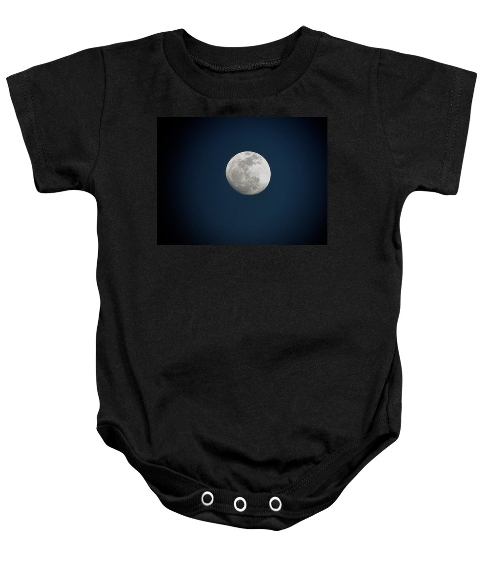 Moon Shines Baby Onesie featuring the photograph Moon Shines by Kim Pate