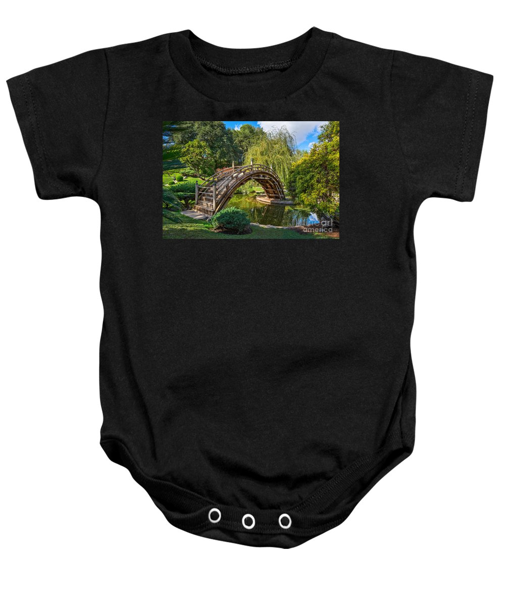 Japanese Baby Onesie featuring the photograph Moonbridge - The Beautifully Renovated Japanese Gardens At The Huntington Library. by Jamie Pham