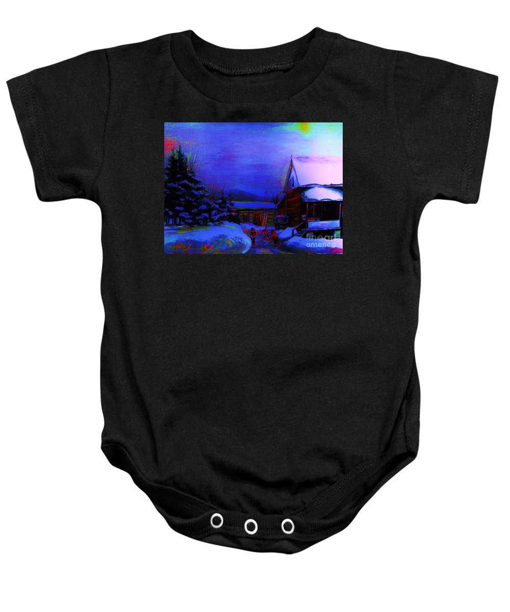 Hockey Baby Onesie featuring the painting Moonglow On Powder by Carole Spandau