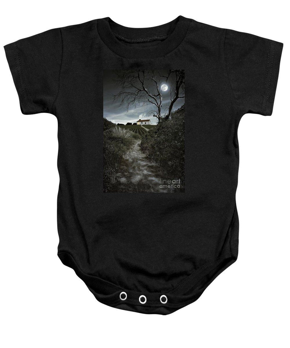 Atmosphere Baby Onesie featuring the photograph Moonlight Farm by Carlos Caetano