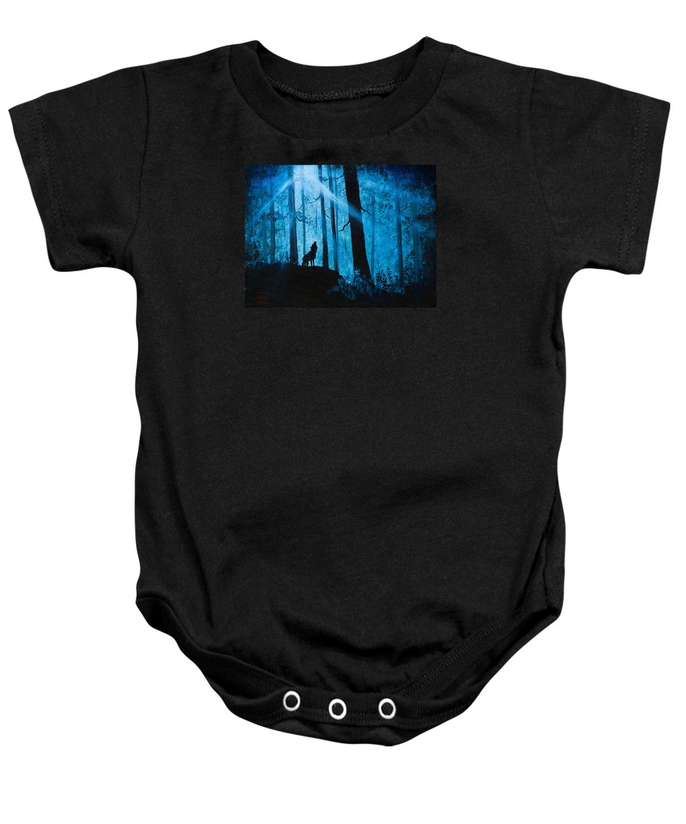 Landscape Baby Onesie featuring the painting Moonlight Serenade by Chris Steele