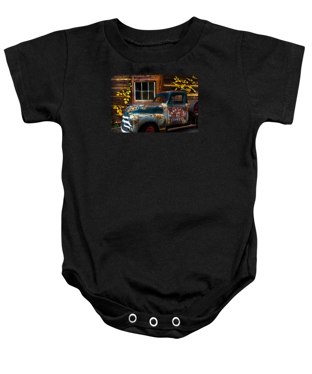1950s Baby Onesie featuring the photograph Moonshine Express by Debra and Dave Vanderlaan