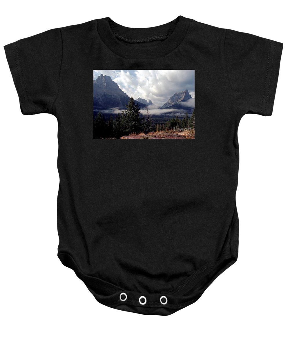 Glacier Baby Onesie featuring the photograph Morning East Glacier Park by Sharon Elliott