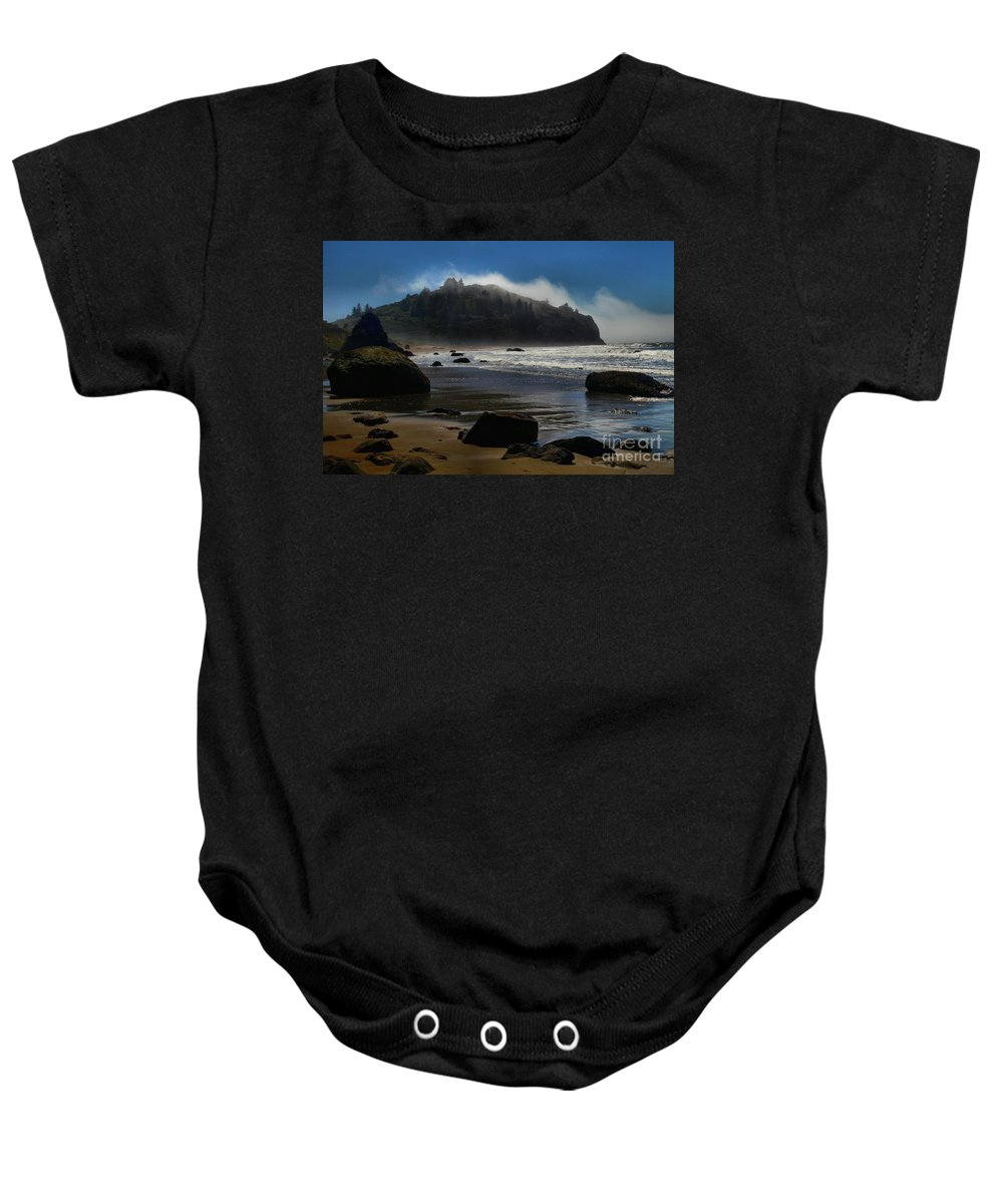 Trinidad Beach Baby Onesie featuring the photograph Morning Fog Burn by Adam Jewell