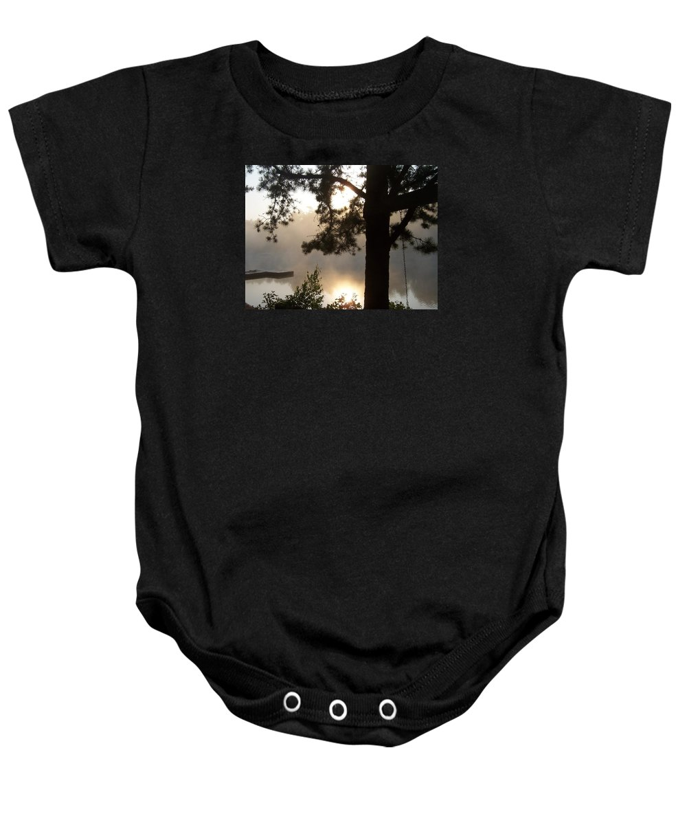 Lake Baby Onesie featuring the photograph Morning Mist by Catherine Gagne