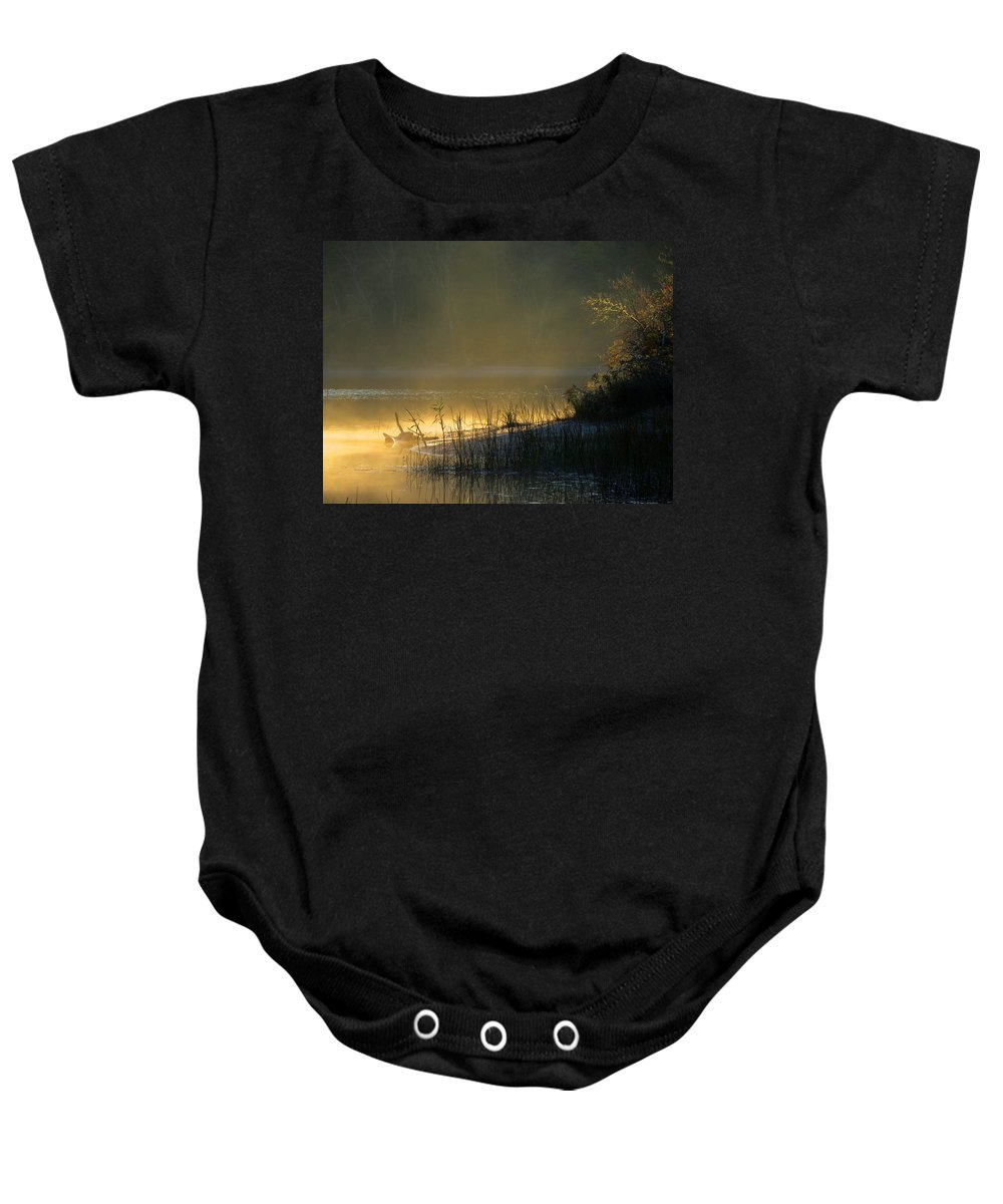 Sunrise Baby Onesie featuring the photograph Morning Mist by Dianne Cowen