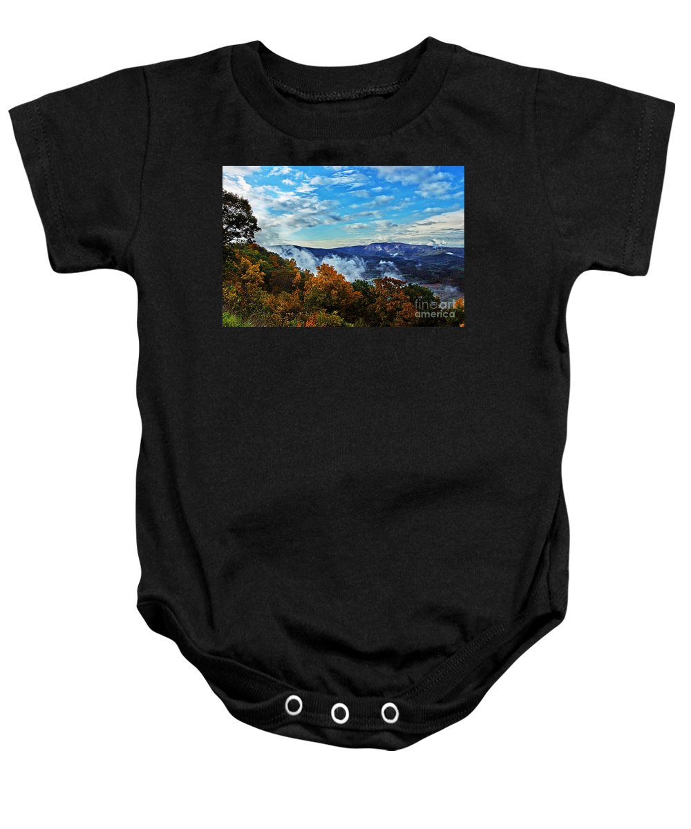 Nature Baby Onesie featuring the photograph Morning Mist On An Autumn Morning by Tom Gari Gallery-Three-Photography