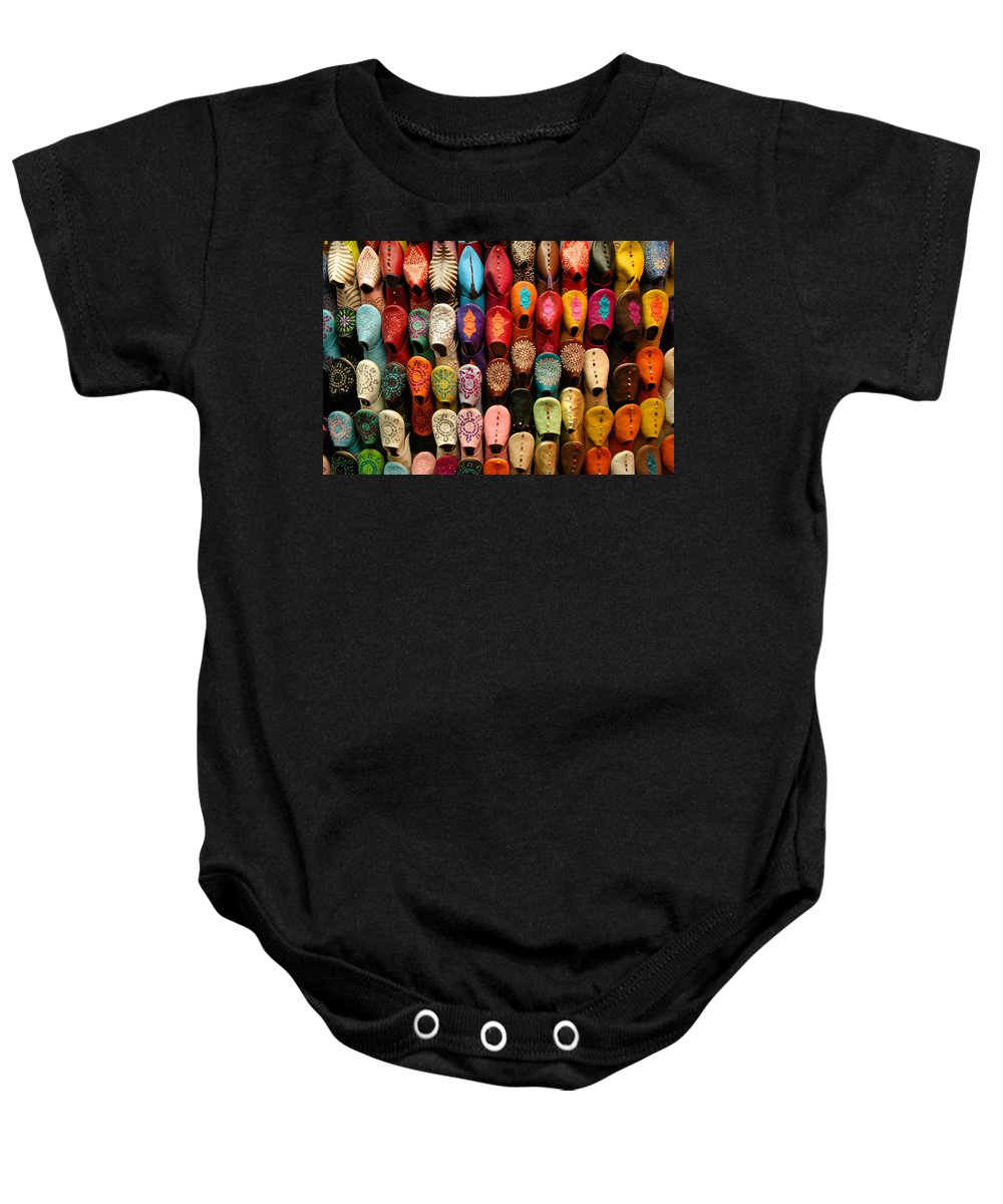 Babouches Baby Onesie featuring the photograph Moroccan Babouches Old Medina Marrakesh Morocco by Ralph A Ledergerber-Photography
