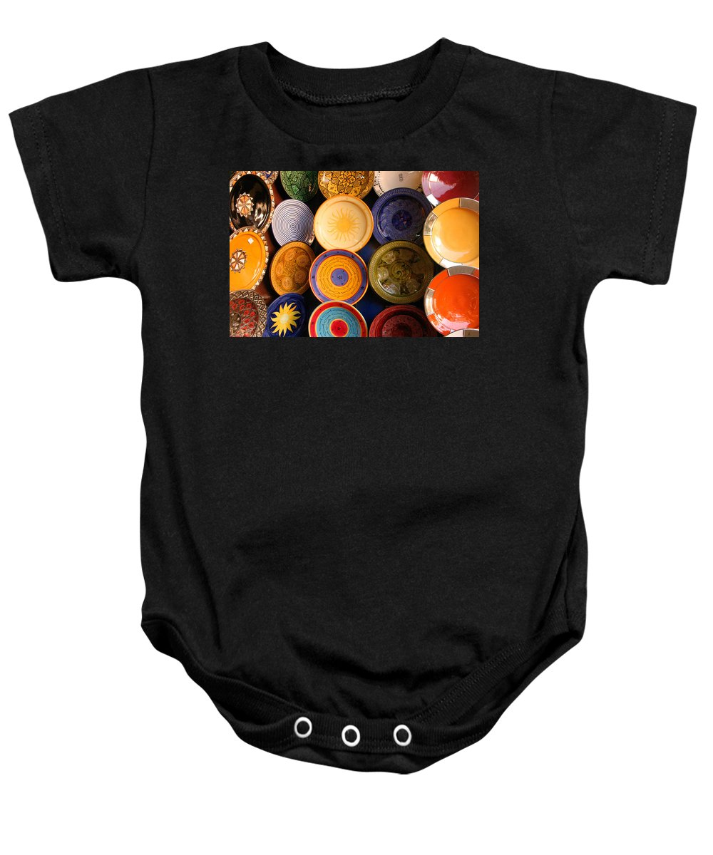 Morocco Baby Onesie featuring the photograph Moroccan Pottery On Display For Sale by Ralph A Ledergerber-Photography