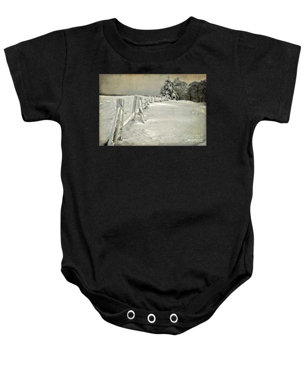 Snow Baby Onesie featuring the photograph Mother Nature's Christmas Tree by Lois Bryan