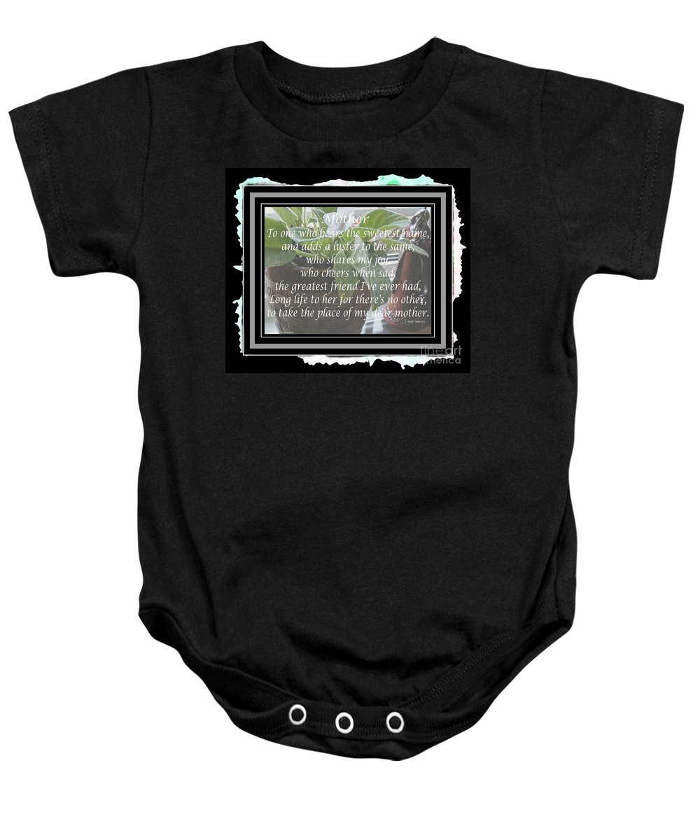 Mother's Day Greeting And Angel Baby Onesie featuring the photograph Mother's Day Greeting And Angel by Barbara Griffin