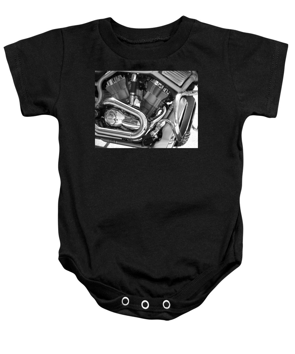 Motorcycles Baby Onesie featuring the photograph Motorcycle Close-up Bw 1 by Anita Burgermeister