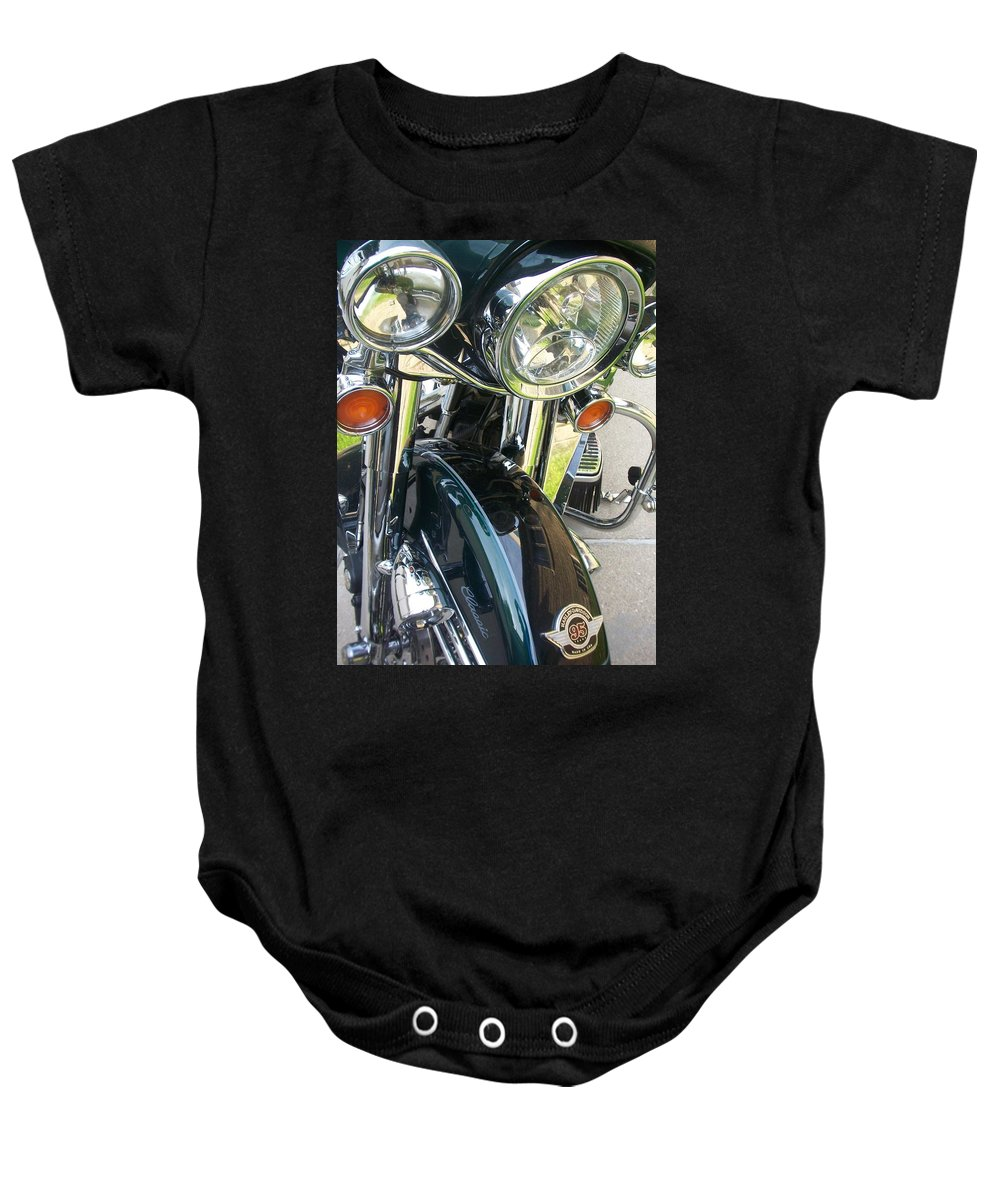 Motorcycles Baby Onesie featuring the photograph Motorcyle Classic Headlight by Anita Burgermeister