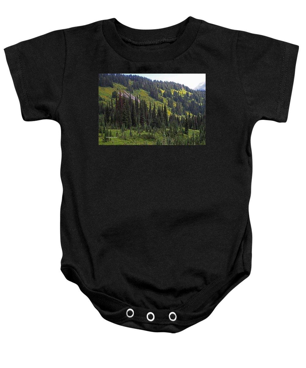 Mount Rainier Baby Onesie featuring the photograph Mount Rainier Ridges And Fir Trees.. by Tom Janca