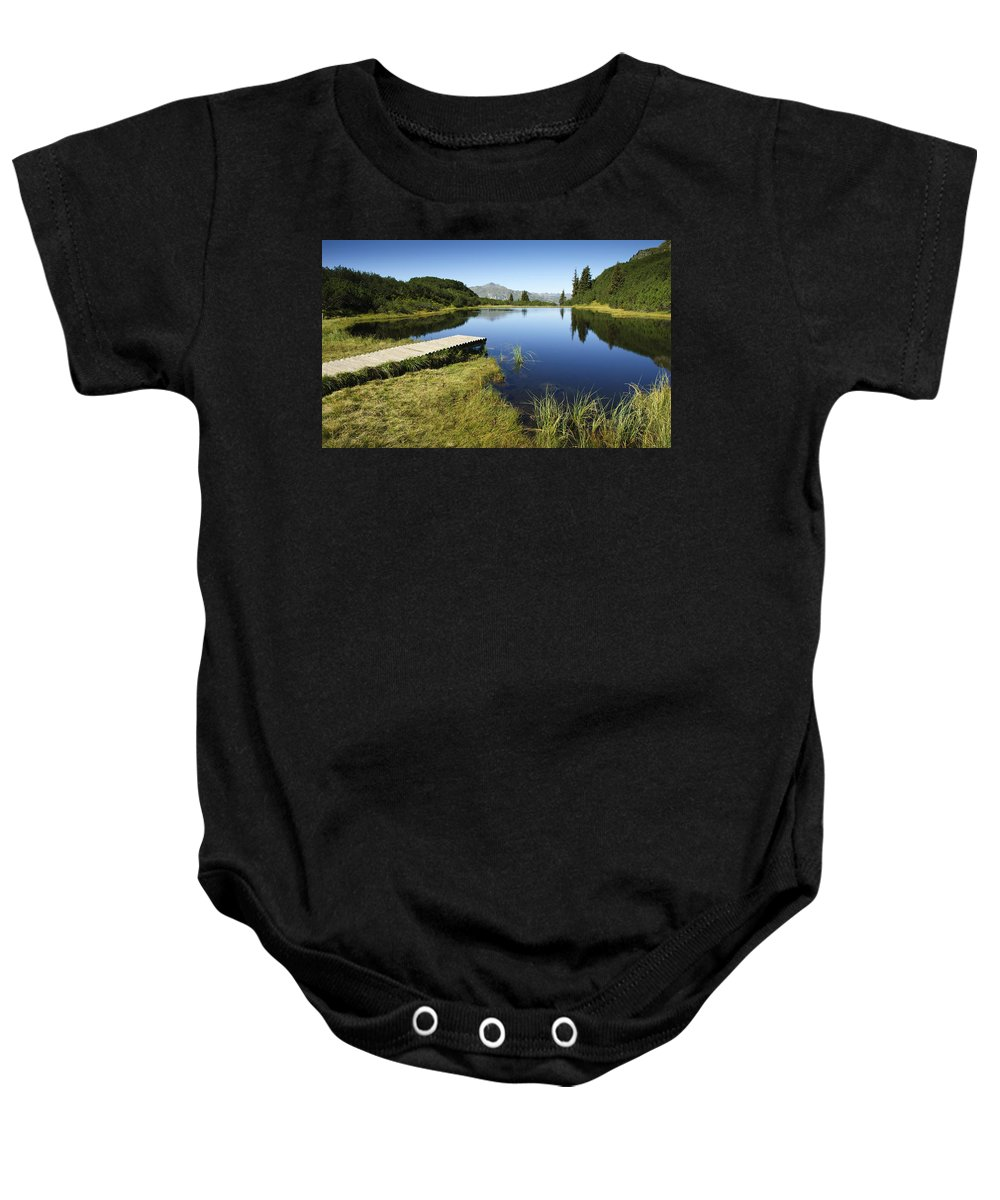 Mountain Baby Onesie featuring the photograph Mountain Lake by Chevy Fleet