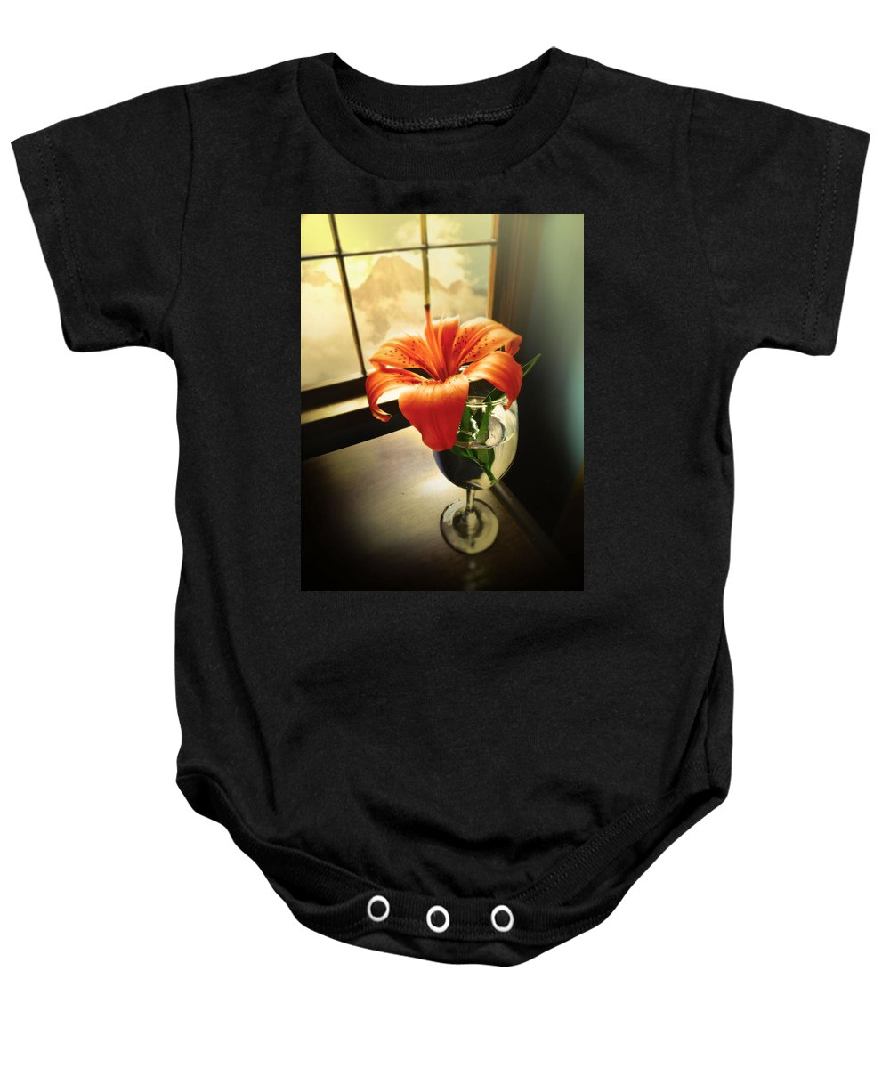 Flowers Baby Onesie featuring the photograph Mountain Lily by John Anderson