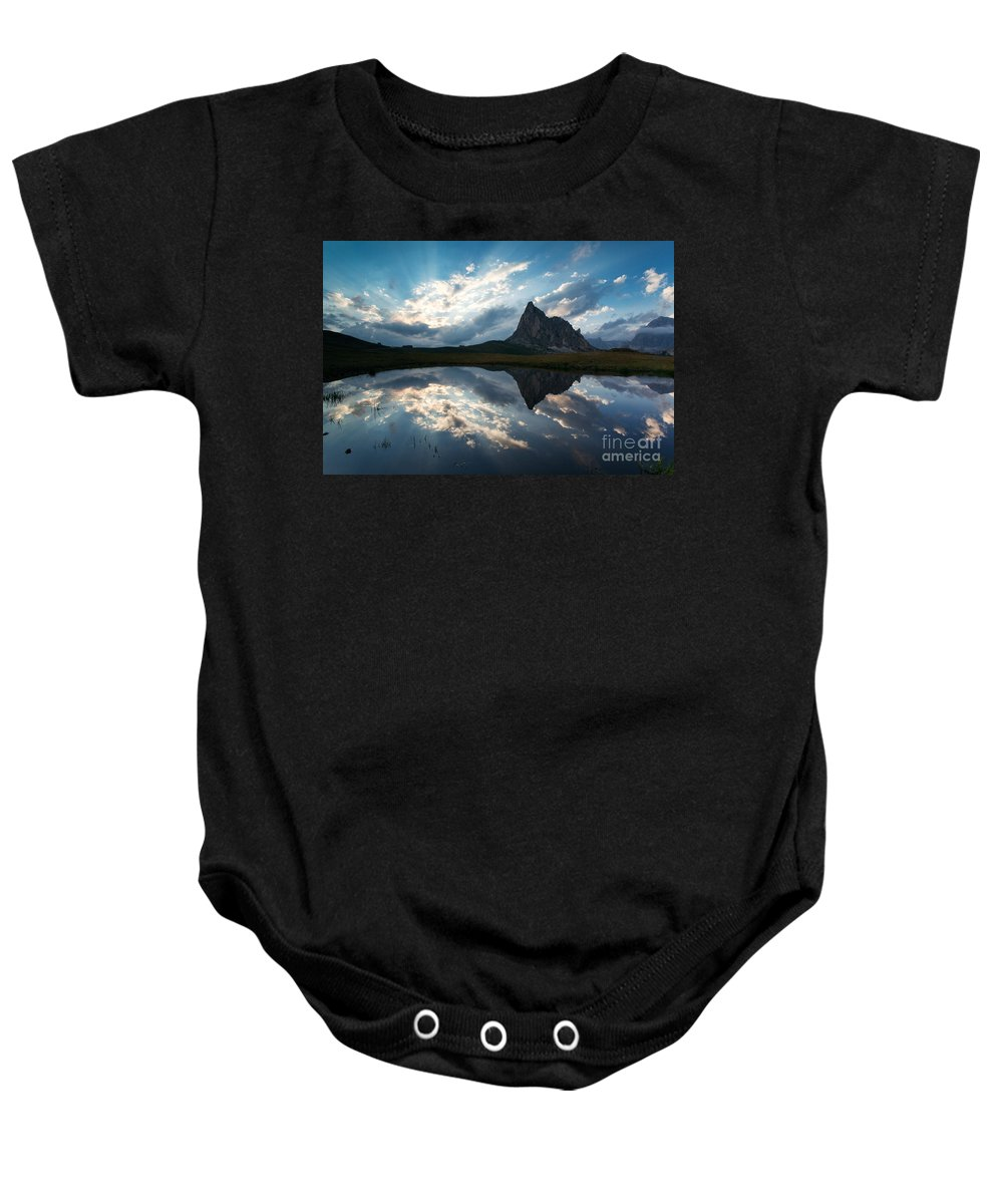 Dolomites Baby Onesie featuring the photograph Mountain Peak And Clouds Reflected In Alpine Lake In The Dolomit by Matteo Colombo