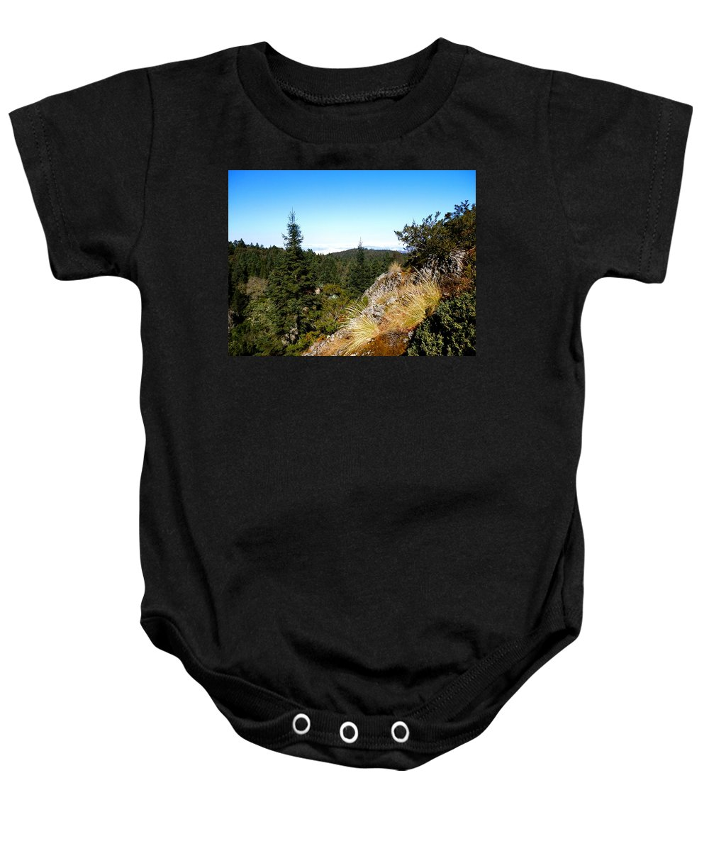 Cool Baby Onesie featuring the photograph Mountain View by Joe Wyman
