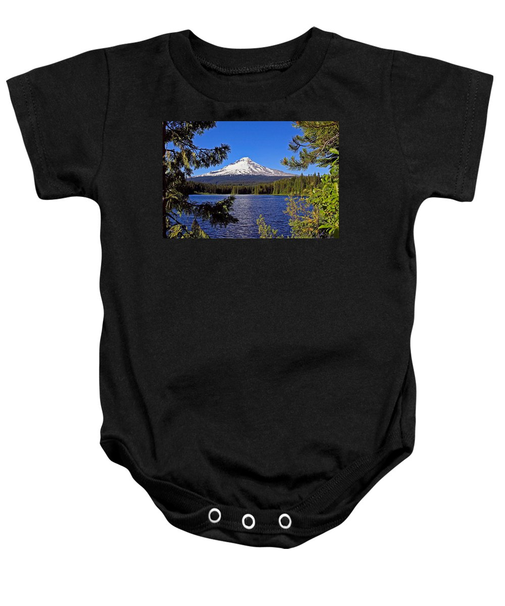Trillium Lake At Mount Hood Baby Onesie featuring the photograph Trillium Lake II by Athena Mckinzie