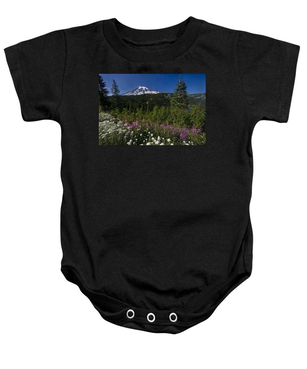 3scape Baby Onesie featuring the photograph Mt. Rainier by Adam Romanowicz
