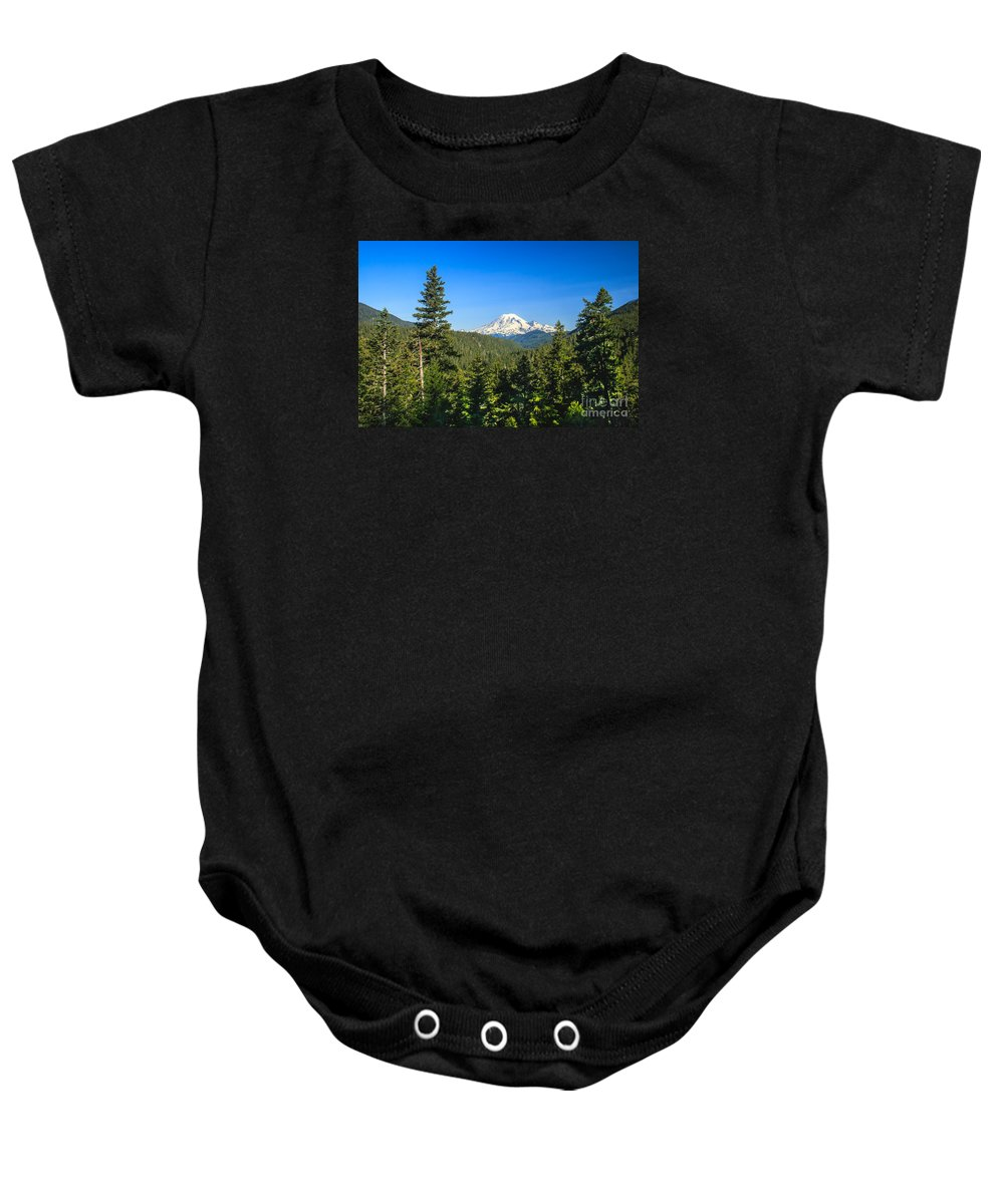 Mountain Baby Onesie featuring the photograph Mt Rainier by Robert Bales