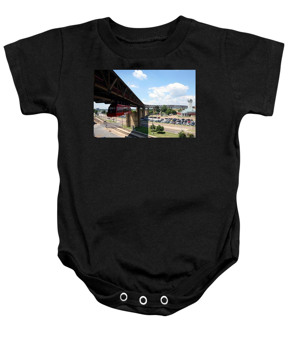 Skyline Scenes Baby Onesie featuring the photograph Mud Island In Memphis by Bill Cobb