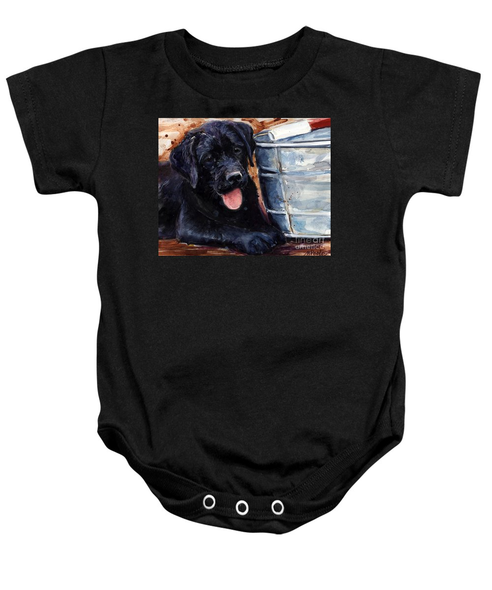 Labrador Retriever Baby Onesie featuring the painting Mud Pies by Molly Poole