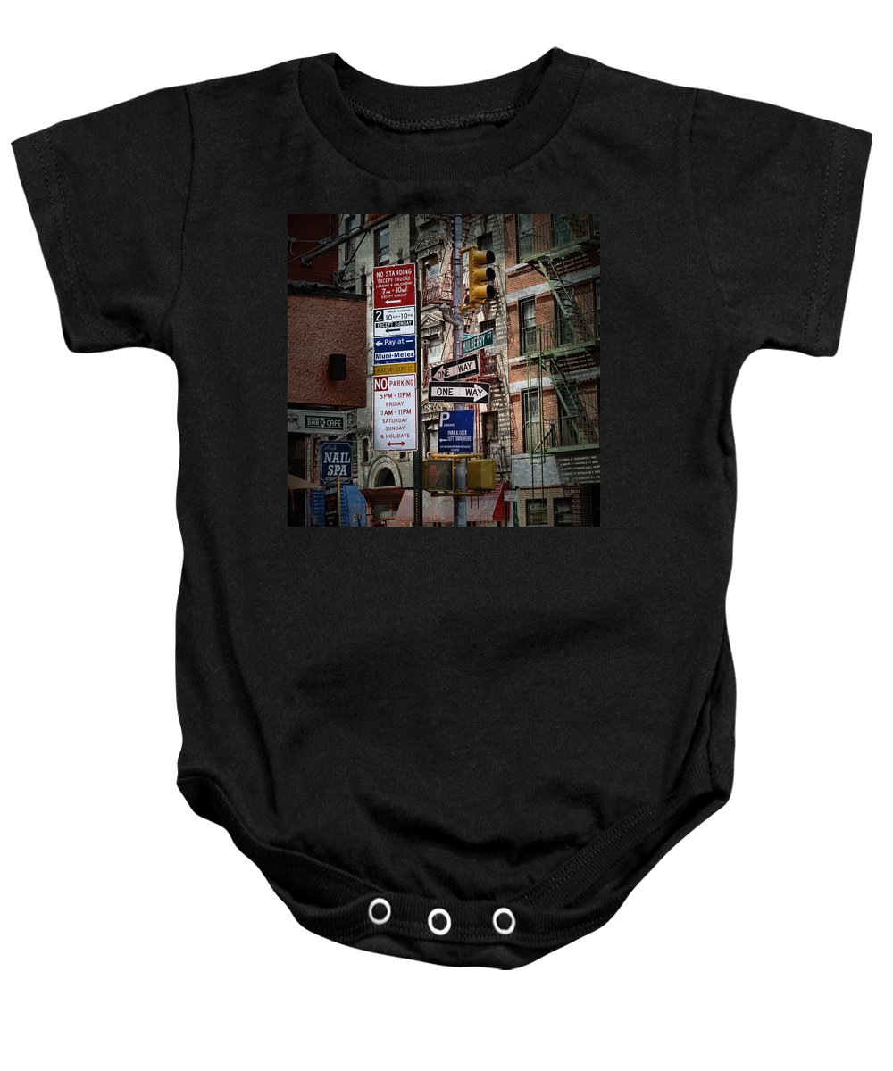 Evie Baby Onesie featuring the photograph Mulberry Street New York City by Evie Carrier
