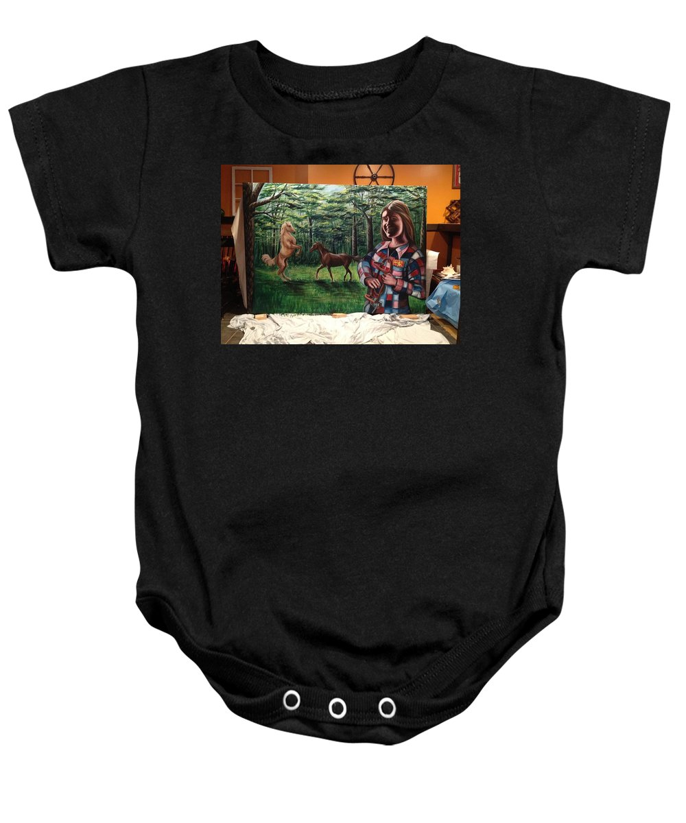 Landscape Baby Onesie featuring the painting Muscaro Mural by Katherine Boiczyk