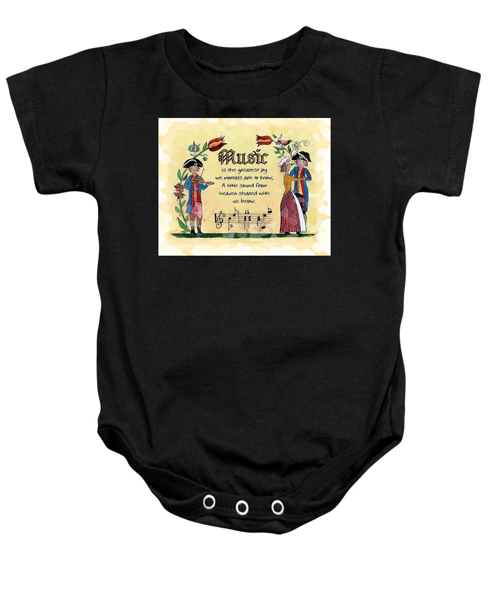 Fraktur Baby Onesie featuring the painting Music Fraktur by Joan Shaver