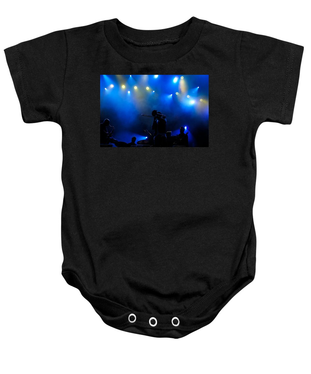 Music In Blue Baby Onesie featuring the photograph Music In Blue - Montreal Jazz Festival by Georgia Mizuleva