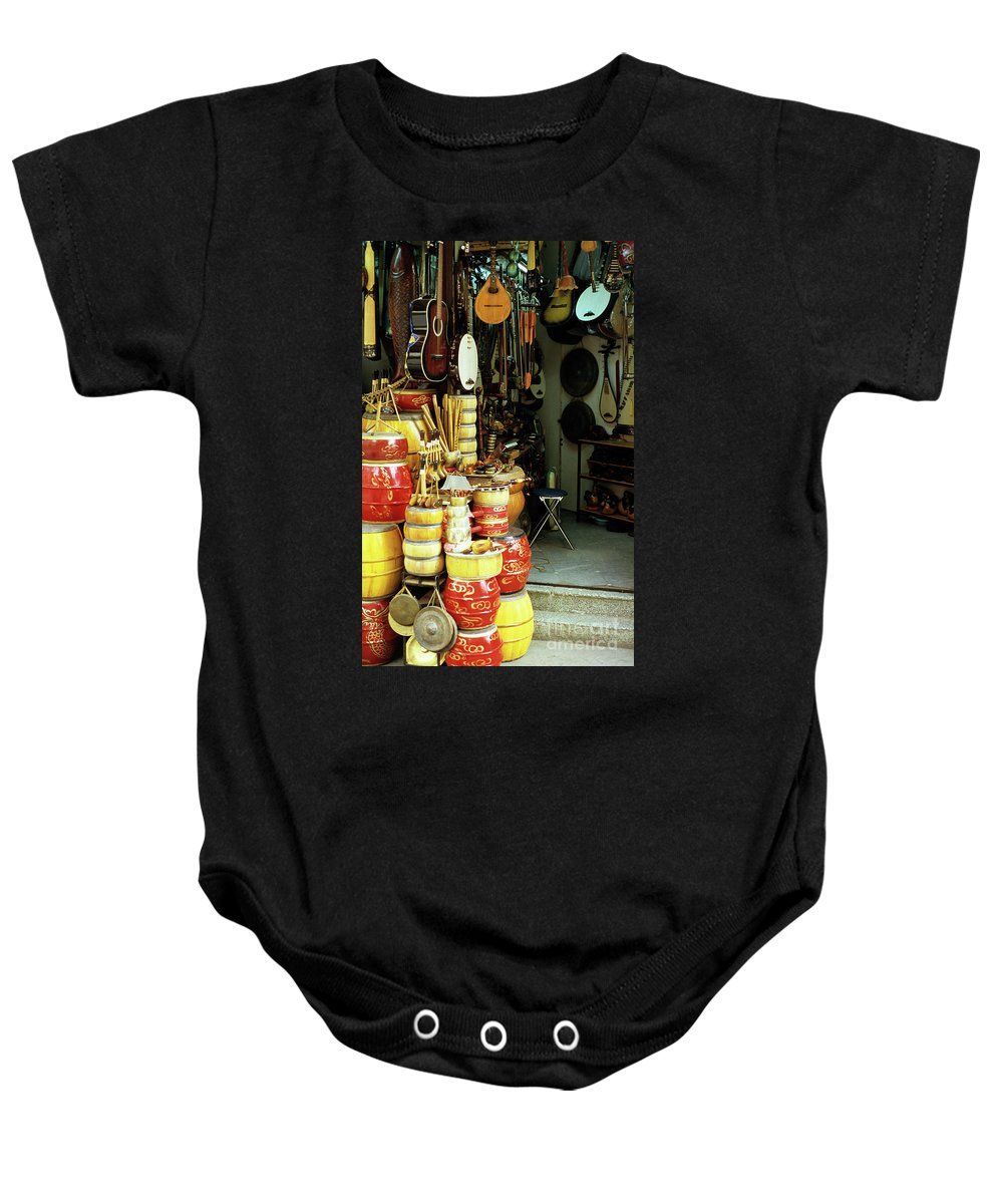 Vietnam Baby Onesie featuring the photograph Music Shop by Rick Piper Photography