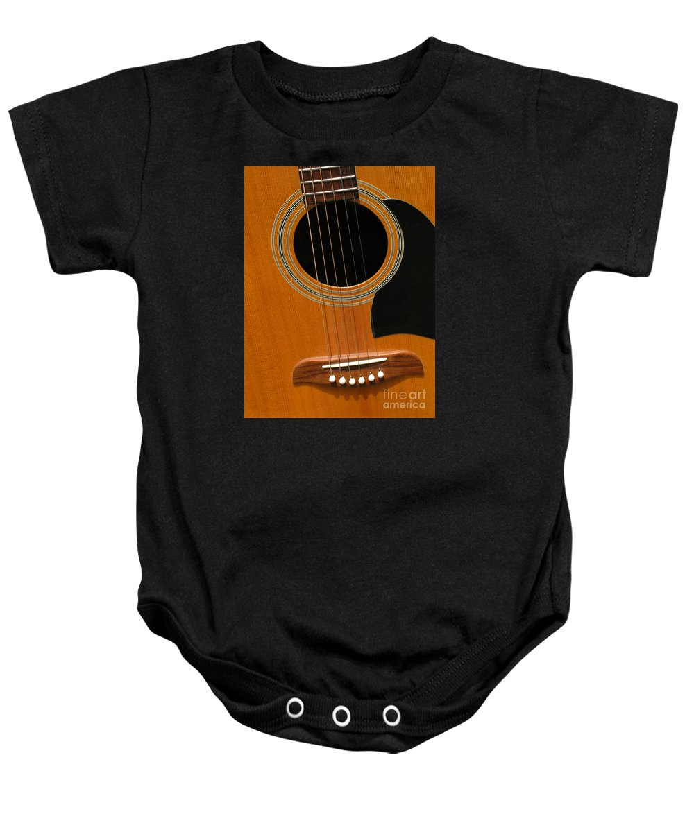 Guitar Baby Onesie featuring the photograph Musical Abstraction by Ann Horn